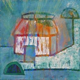 """""""Casa Maya"""" Mixta sobre tela 30 x 30 cm"""