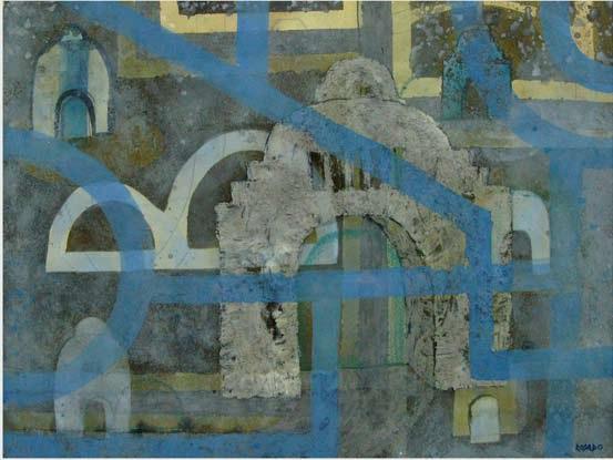 Monumento de la revolucion mixta sobre tela 50x65