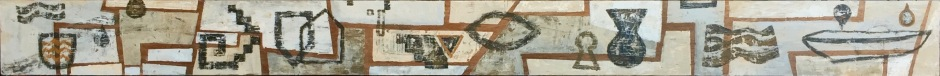 """Mensaje Sagrado"". Mixta sobre madera.  210 x 17 x 3 cm"