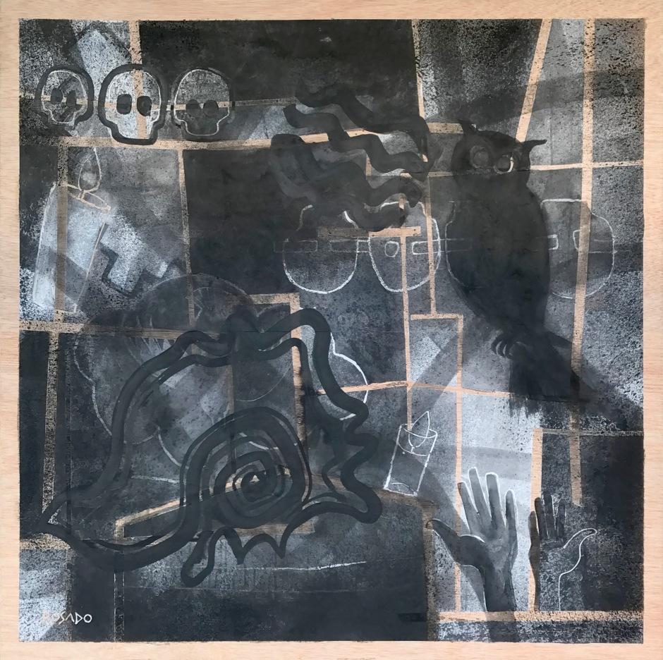 Alegoría de Todos los Santos.Tinta/madera.130x130cm.GRosado