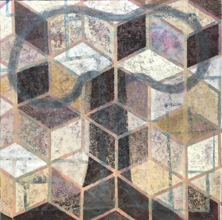 Arbol de la vida .Mixta/tela.130 x 130 G.Rosado