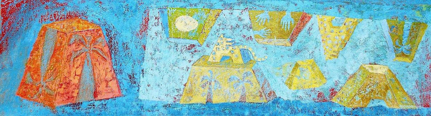"""Pirámide naranja"" óleo/yute 50x180 cm"